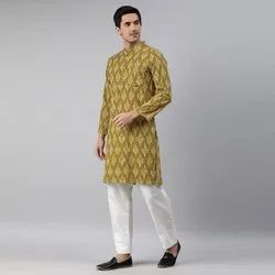 Janasya Men's Green Cotton Kurta(MEN5022)