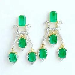 Real Diamonds Party Wear Emrald Diamond Earrings, 22, 14 Kt