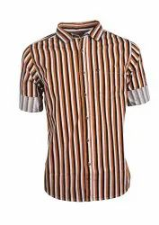 Men Orange Stripe Casual Shirt