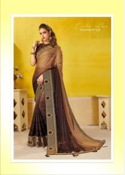 Silk Jari Embroidery Border Saree