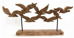 Natural Wood Mango Wood Wooden Birds Showpiece, For Home Decor, Size: 77 X 9 X 35 Cm