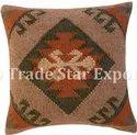 Kilim Cushion Cover Handmade Square Pillow Case Jute Cushion Case Cotton Handloomed Pillow Cover