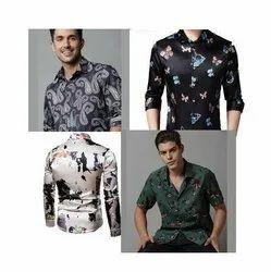 Mens Satin Printed Shirt