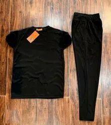 Black Casual Wear Mens T Shirt Lower Set