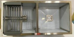 AARVIK  45x20, Stainless Steel Double Bowl Satin Matt Handmade Kitchen Sink
