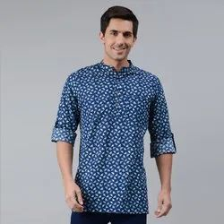 Janasya Men's Blue Cotton Kurta(MEN5007)