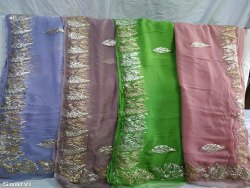 Party Wear Embroidered  Chiffon Saree
