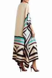 Casual Wear Calf Length Crepe Kaftan for Women