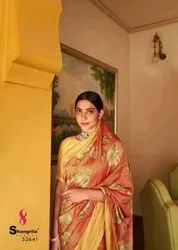 Printed Multicolor Shangrila Launched Sonam Silk Vol 2, 6.3 m (with Blouse Piece)