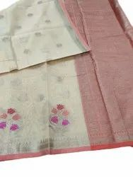Formal Wear Cream Pure Cotton Saree, With Blouse, 5.5 m