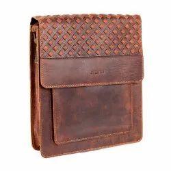 Fancy Brown Leather Messenger Bag