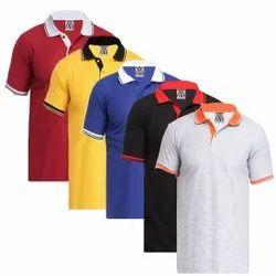 Half Sleeve White Men Collar Cotton T-Shirt