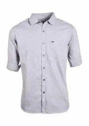 Mens Grey Printed Shirt