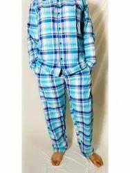 Mens Check Cotton Collar Neck Night Suit