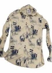 Collar Neck Mens Casual Wear Printed Cotton Shirt