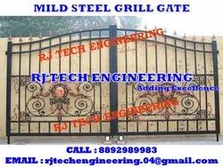 Hinged Black Mild Steel Grill Gate, For Residential
