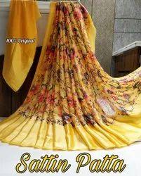 4 colour Casual Wear Satin Patta Saree, 6.3 m (with blouse piece)