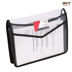 Black Envelope Folder Transparent Poly-Plastic A4 Documents File Storage Bag With Snap Button