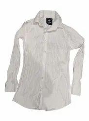 Collar Neck Mens White Plain Cotton Shirt, Machine wash