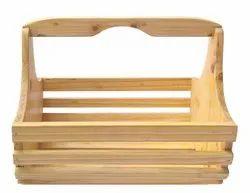 Brown Natural Pine Wood Fruit and Vegetable Basket - Storage Basket, For Home, Size: Custom