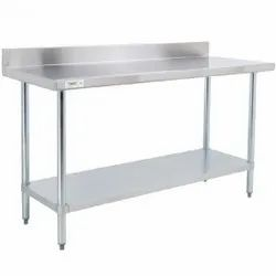 CUSTOM Silver SS Work Tables, For Kitchen, Number of Shelves: 1 Or 2