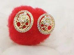 Golden Round Gold Designer Womens Earring