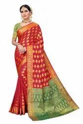 6.3 M (with Blouse Piece) Red Ladies Festival Wear Banarasi Silk Saree