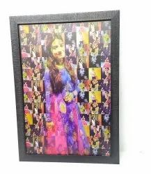 Synthetic Wood Multicolor Mosaic Photo Frame, For Gift, Size: 10x14