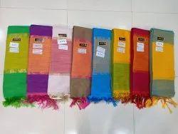 Kalyani Plain Soft Silk Cotton Slub Saree With Blouse