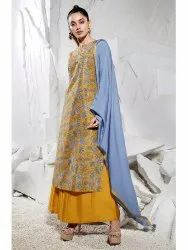 Janasya Women's Mustard Poly Muslin Kurta With Palazzo and Dupatta(J0234)