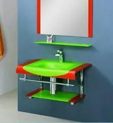 Vika Green And Red Wall Mounted Glass Wash Basin With Mirror, For Bathroom Fittings