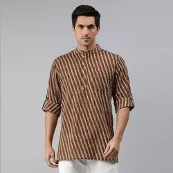 Janasya Men's Brown Cotton Kurta( Men5020)
