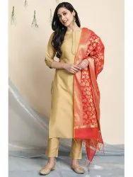 Janasya Women's Gold Poly Silk Kurta With Pant And Dupatta(SET264)