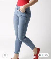 Button Blue Denim Jeans Skinny Bottom