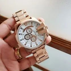 Round Casual Wear Diesel Watch For Men, For Personal Use