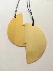 Golden Brass Black Thread Necklace, Casual