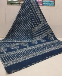 Bagru Dabu Hand Block Printed Cotton Saree