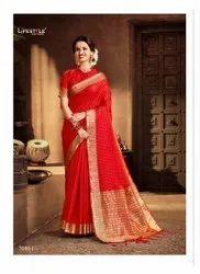 Chanderi Gala Silk Saree-6 Pcs Set