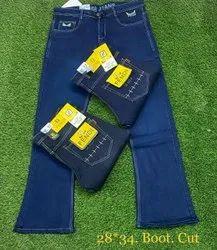 Denim Boot Cut Jeans, Waist Size: 28-34