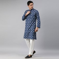 Janasya Men's Blue Cotton Kurta(MEN5024)