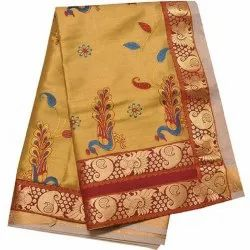 Mustard Yellow Printed Ladies Embroidered Saree, 5.5 m (separate blouse piece)
