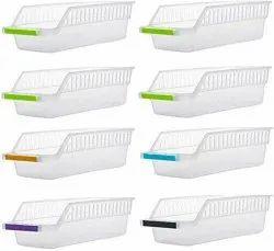 Plastic White CE-190 Kitchen Plastic Space Saver Organizer Basket Rack 4 Pcs Set