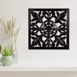 Timberly Wooden MDF Hanging Wall Panel Black (Square Panel)