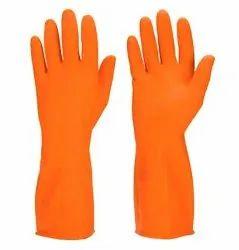 Orange Rubber Safety Gloves