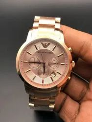 Round Latest Armani Rose Gold Watch For Man, For Personal Use