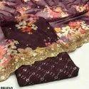 Organza Digital Embroidery Fabric (For Dupatta Use)