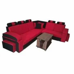Leather, Wooden Antique Red Corner Sofa Set, Living Room, Seating Capacity: 5 Seater