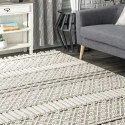 Knotted Wool Rug For Home And Living,Wool Pail Area Rug,Tribal Textured Tassels Rug,Rugs And Carpet