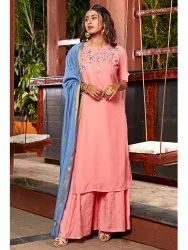 Muslin Kurta With Palazzo and Dupatta(J0079)