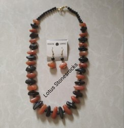 Orange Moonstone And Black Agate Necklace Earrings Set.